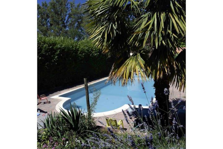 Chambres dans maison avec piscine
