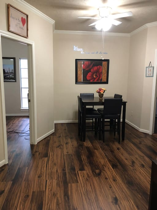 This is your view when you first was into the house. There is a dining table which seats four for your yummy breakfast or dinner gatherings.