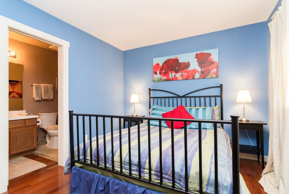 Queen bed, private attached bathroom