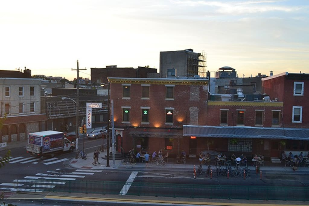 Johnny Brenda's is across the street and has great music and excellent food.    Also the train, bus and trolley are less then a 2 block walk.  Tons of things within walking distance less than 10 min away!
