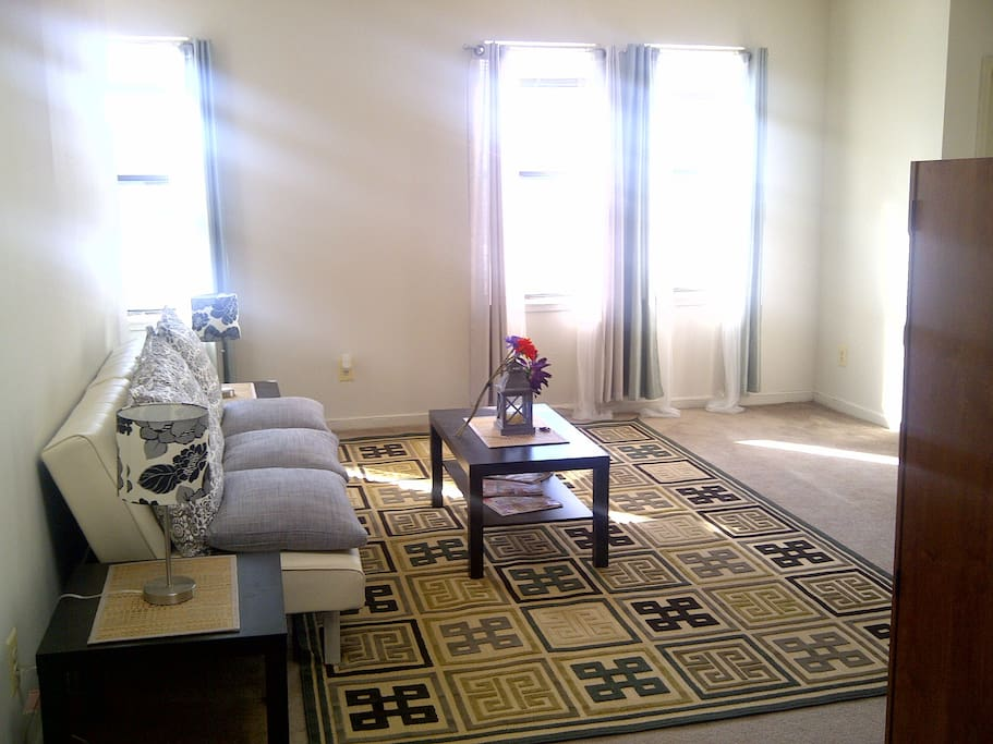 Living room, sunny, spacious, and clean