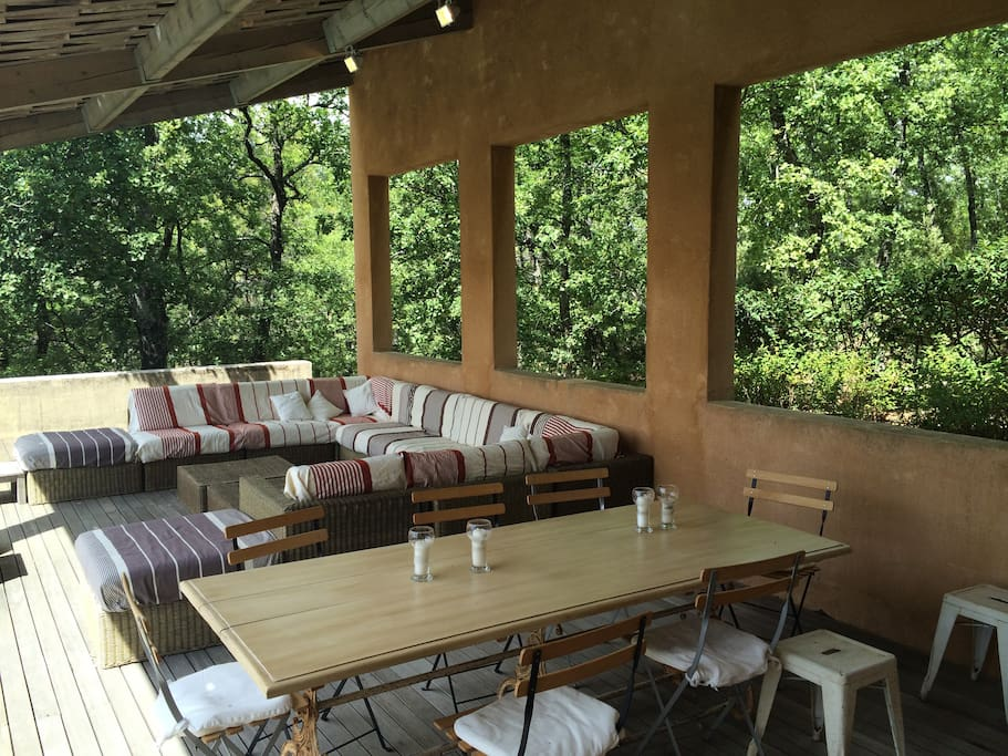 Outdoor dining room right off the kitchen