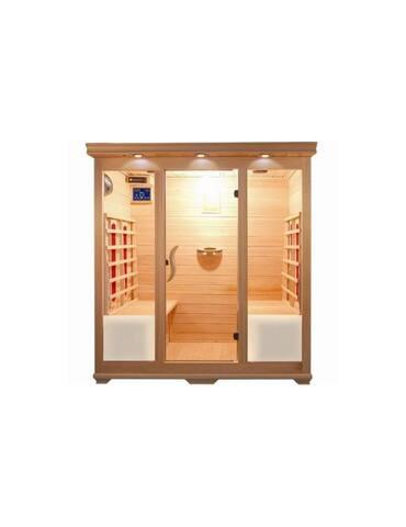 Sauna ad infrarossi 4 posti Sei irradiatori infrarossi ceramica Cromoterapia  a sette colori Ionizzatore per profumo terapia (purificatore d'aria) Illuminazione interna ed esterna stereo cd mp3 relax e benessere per la tua vacanza Pannello interno