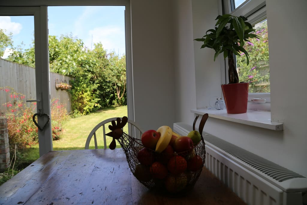 Whilst we are not able to make you breakfast, you can help yourself to fruit, juice, cereal, tea and coffee. Which you can enjoy in the garden if its sunny!