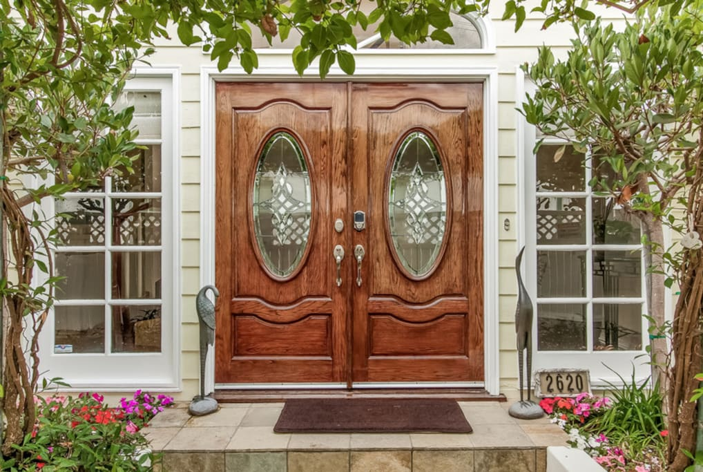 Front door with coded entry and automatic locking.