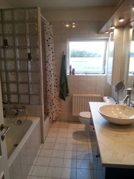 bathroom; shower and tub