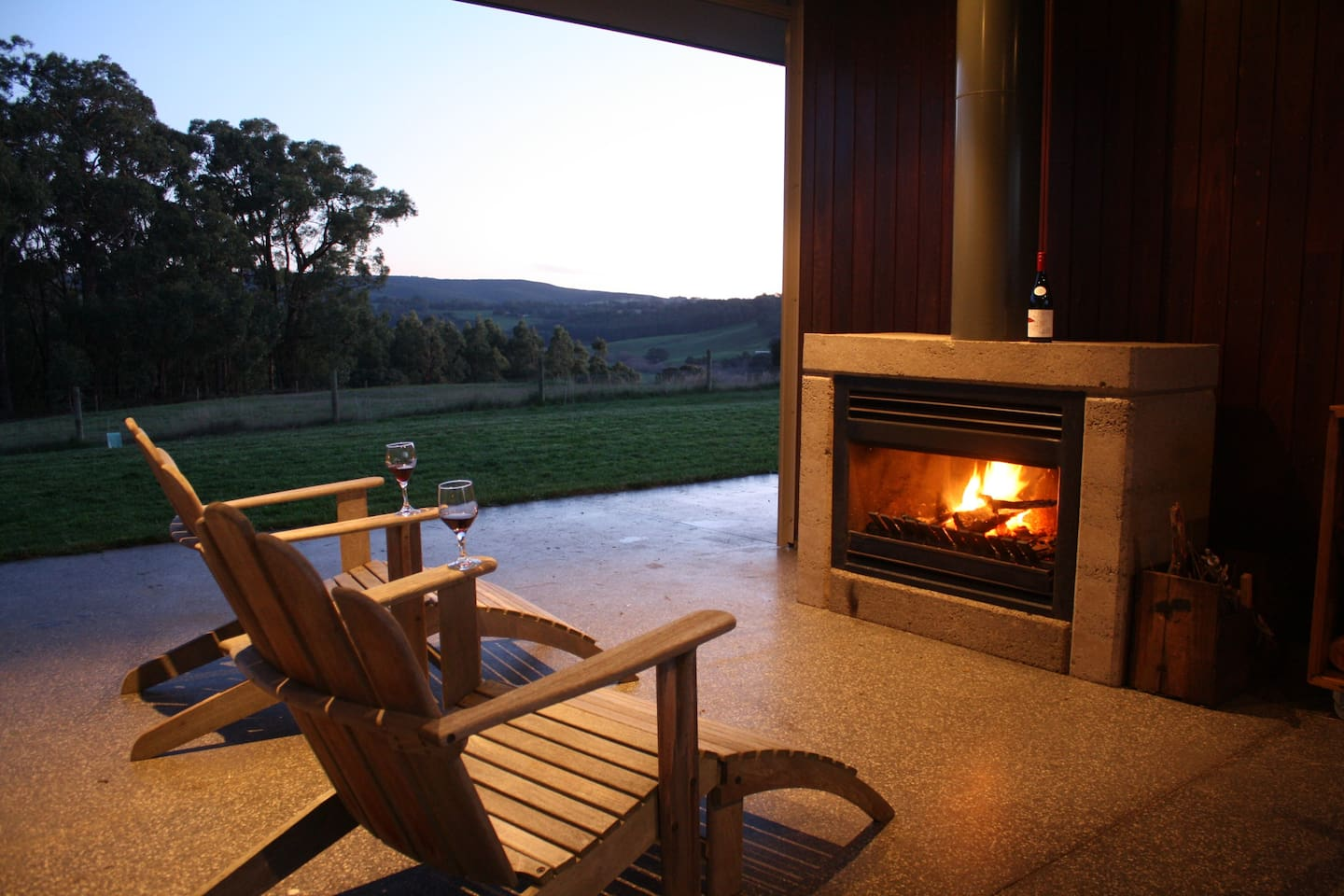 Outdoor fireplace with a view, marshmallows provided!