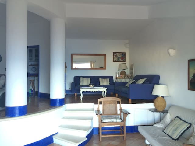 Dal soggiorno si accede alla zona pranzo interna e alla cucina