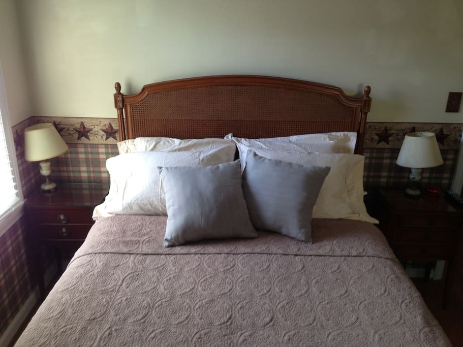 Regency Cane headboard and plenty of pillows.  New Tempurpedic queen bed.  TV.
