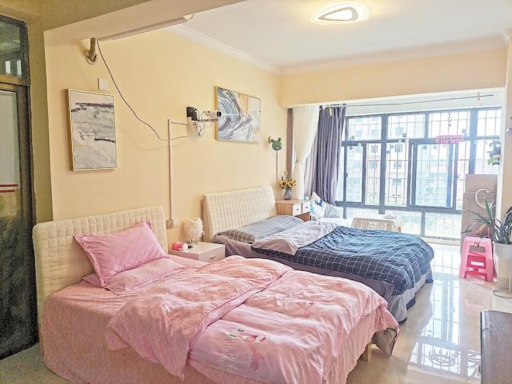漳州爱之屋万达旁简约风格两床单身公寓可煮饭泡茶翰苑颐园碧湖生态园