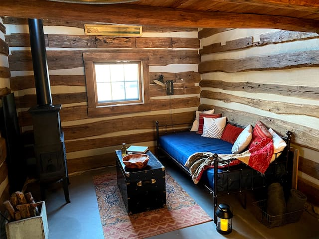 Daybed on the main level of the cabin.
