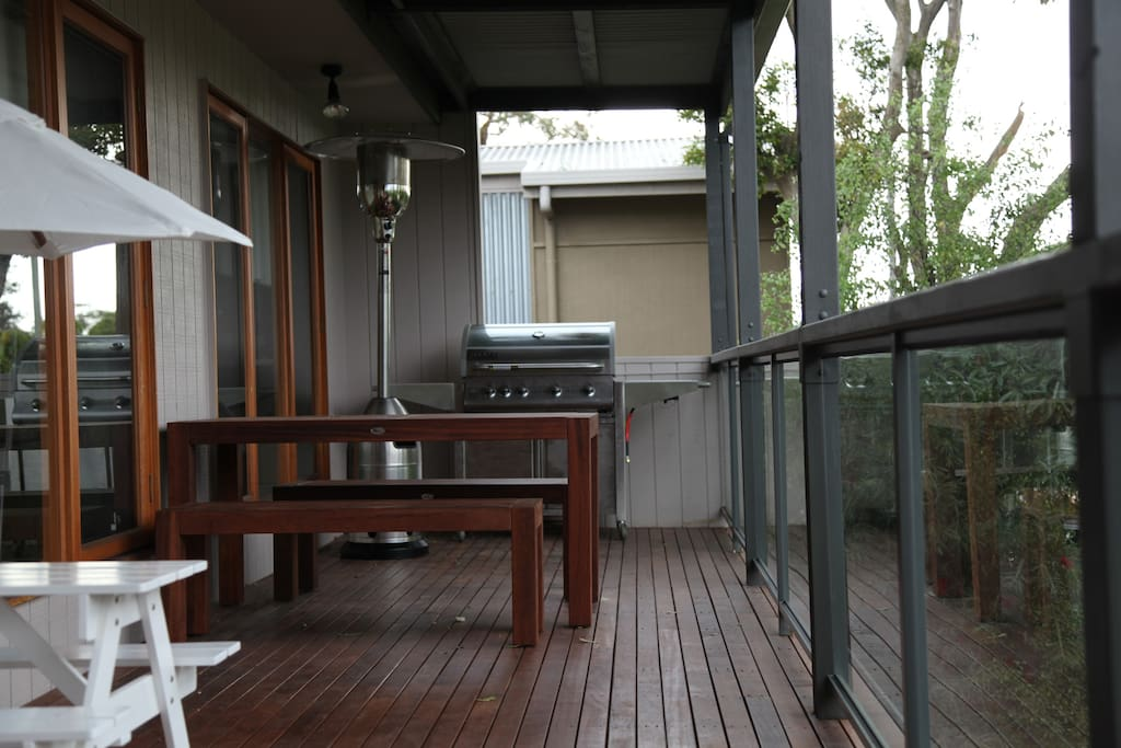 BBQ, gas heater, kids table (in white) and outdoor benches and table for 6