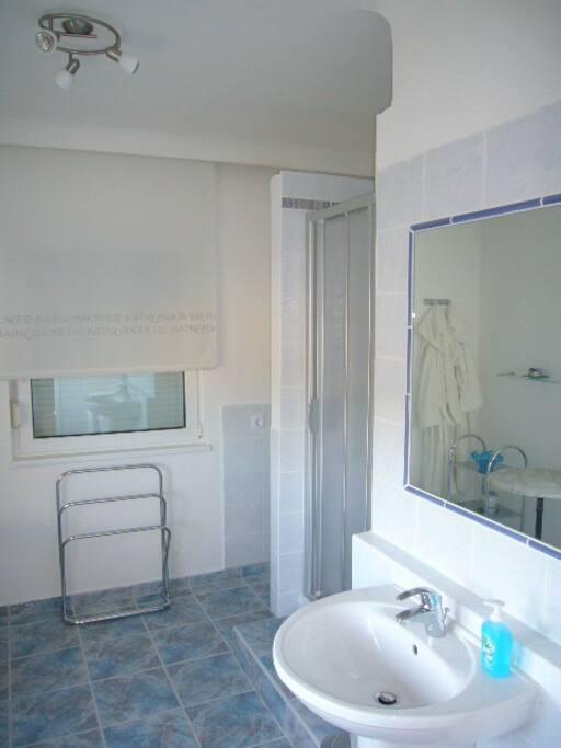 Badezimmer mit Dusche uns Waschmaschine