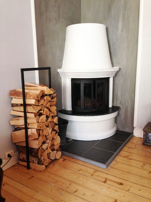 There is a fireplace in the apartment that can be used on cold days.