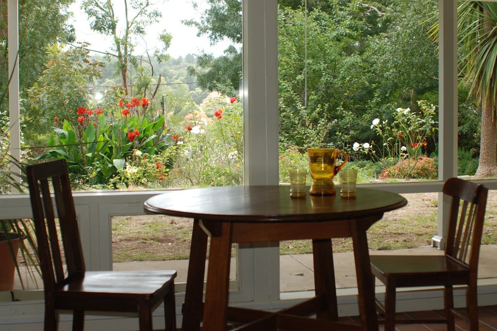 Dining area with garden and long distance view
