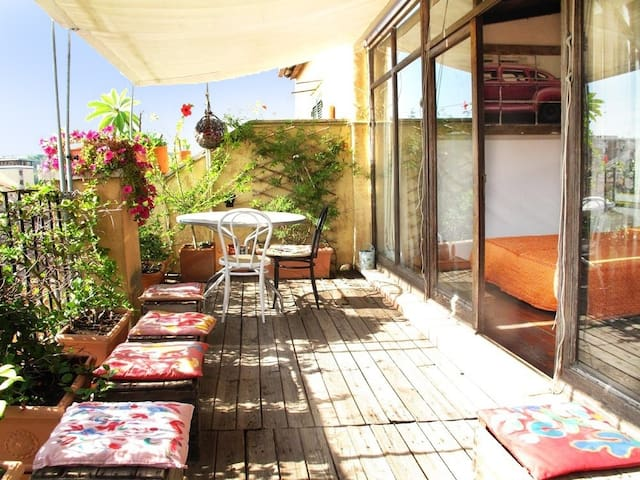 The terrace and the studio area