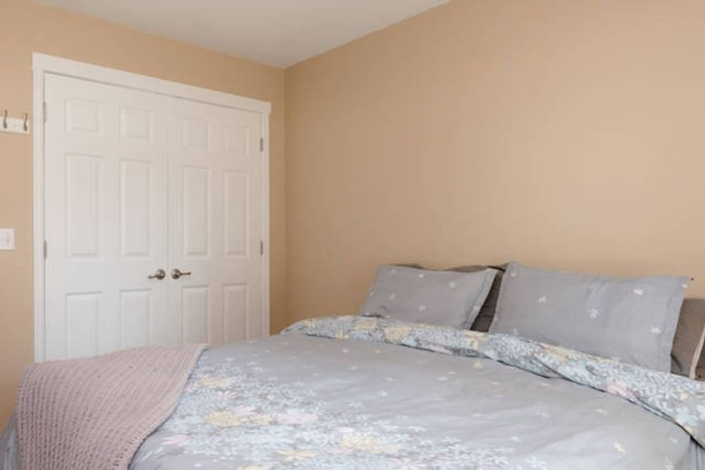 Room large Closet with lots of space! Open And ready for your shopping bags.  Guest Bedroom