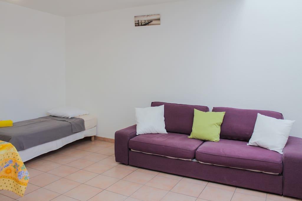 Canapé lit (super confortable je précise :))) et lit une place se trouvant dans le salon/ salle à manger