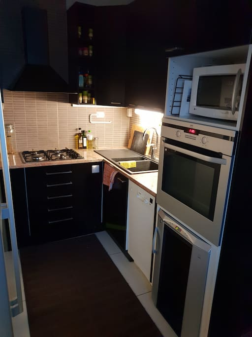 Kitchen including example  gas oven, washing machine,fridge, wine cabin, coffee maker