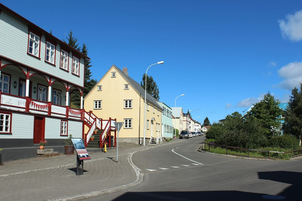 In the historic part of Akureyri, 10 min walk to city centre
