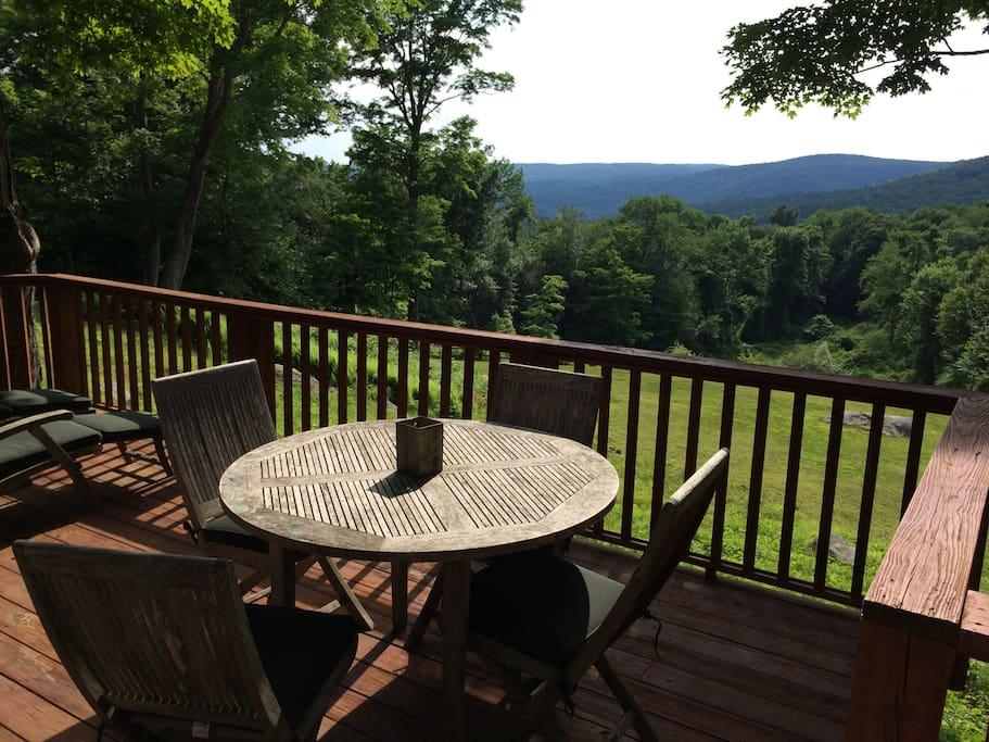 Back deck faces west overlooking the Litchfield hills and gorgeous sunsets.