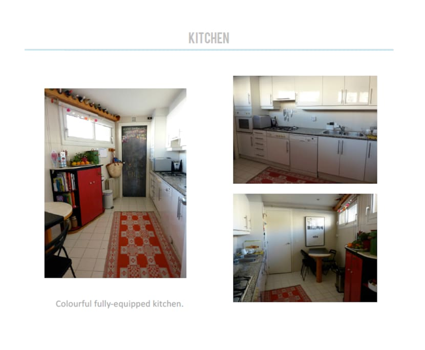 fully equipped kitchen plus laundry room.