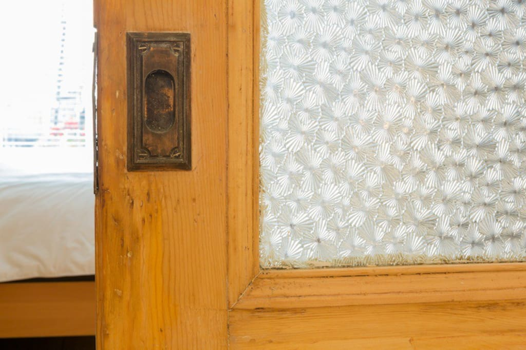 Vintage wood and carved glass doors