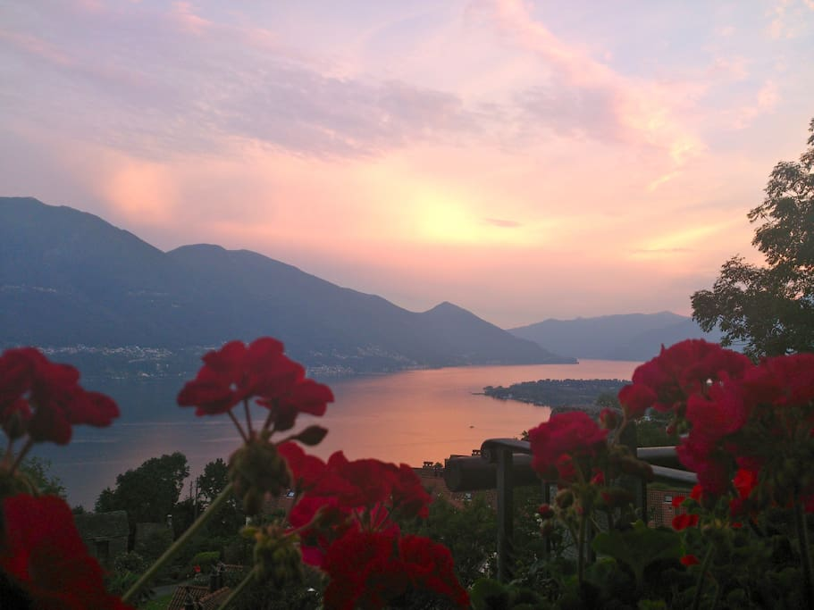 Relax in the evening after a days walking looking across the beautiful Lake Maggiore.