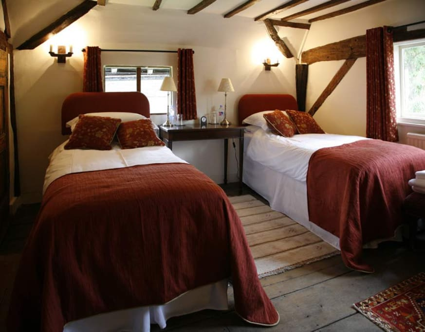 Our master bedroom can be twin or double and has a fireplace and sitting area