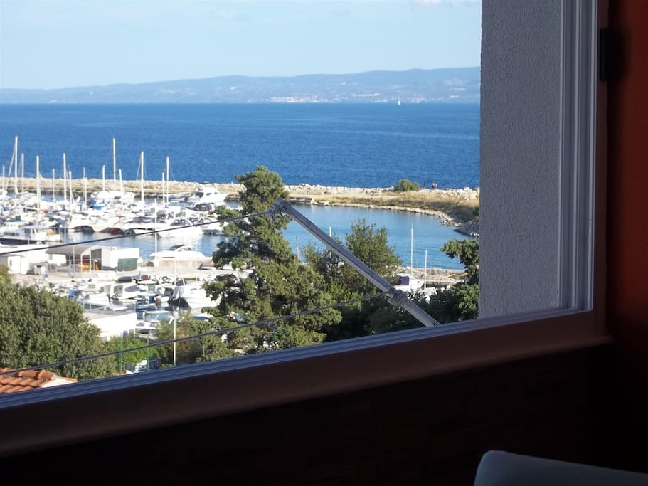 View from the apartment on the marina Zenta and beach
