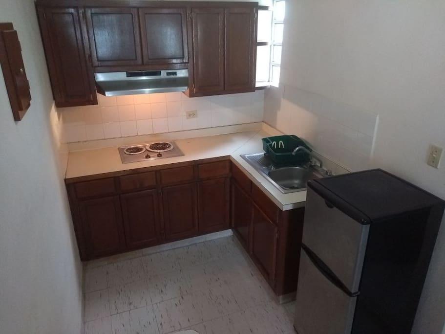Cocineta electrica y Refrigerador