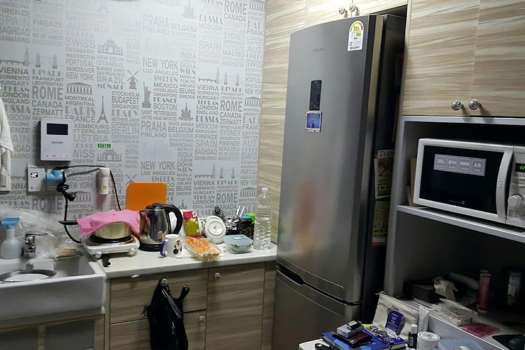 Small kitchen ( fridge , microwave etc )