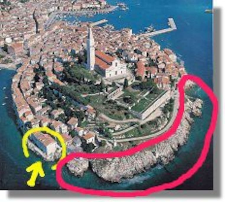 our house see yellow circle// famous place for sun-bathing and swimming,see red area