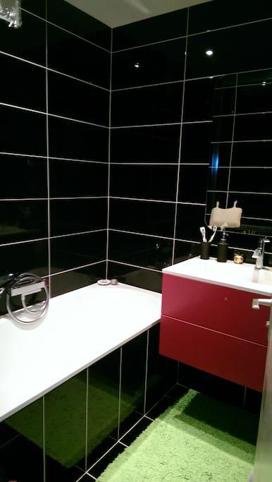 Modern bathroom with a bathtub