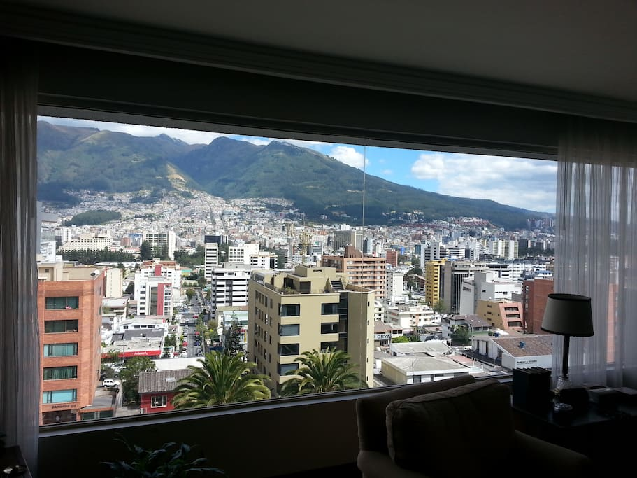 Amazing view from the living room of the north side of Quito