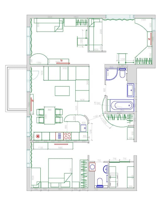 Общая планировка апартаментов 100 м2.