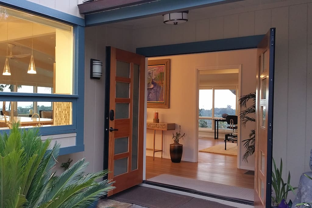 Front entry. Enter the ocean views in every direction, and every room. Truly amazing!.