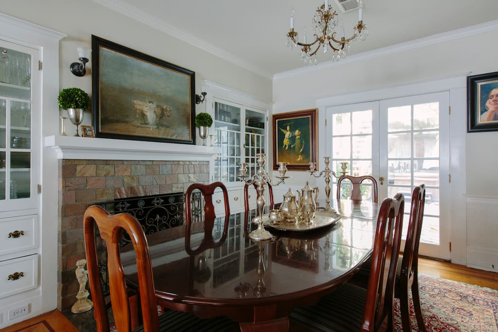 Dining room, private patio behind French doors