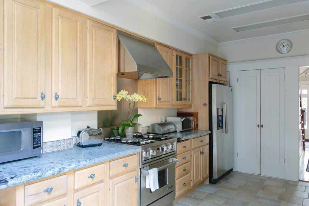 Kitchen; granite countertops; Dynasty commercial stove;