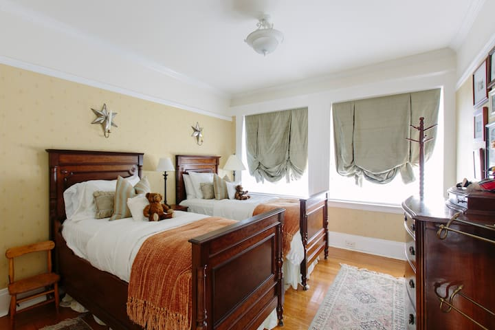 Guest bedroom #1; French antique beds