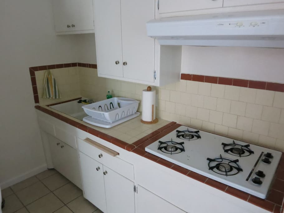Full Kitchen with fridge, gas stove, microwave and oven! All cooking basics included!