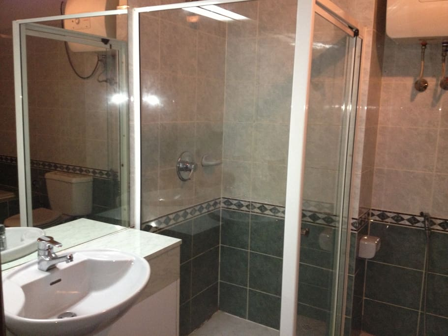 Complete bathroom fitted with lights and power points
