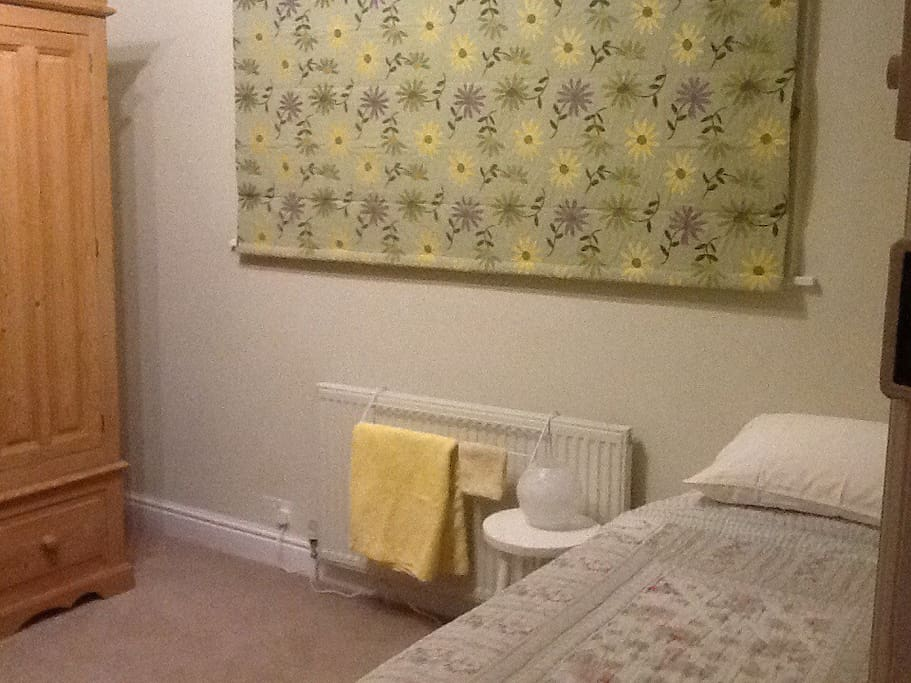 Clean single bedroom with wardrobe hanging and sofa in room.