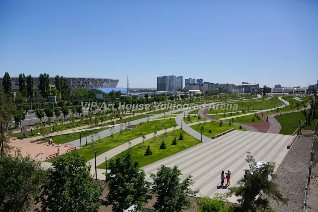 """Мемориальный парк между ЖК """"Арт Хаус"""", стадионом Волгоград Арена и комплексом Мамаев Курган."""