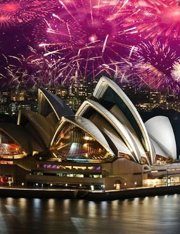 *New year view on Opera house and Harbour bridge*