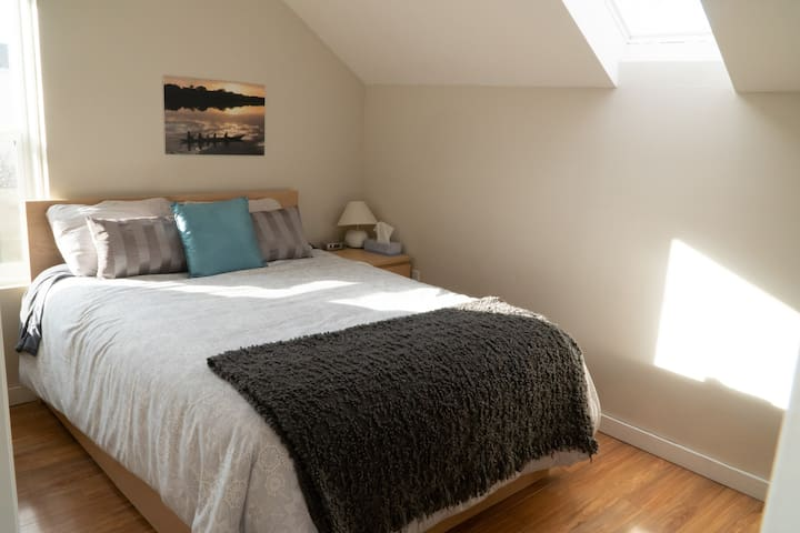 South-facing bedroom with Queen bed and skylight.