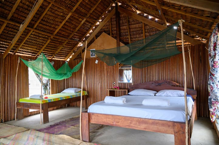 Each bed has a mosquito net