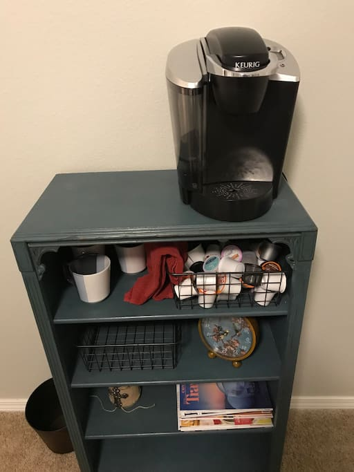 Keurig with K-cups in the Floral Room