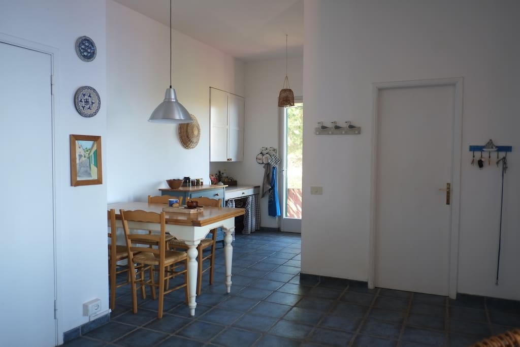The entrance and the kitchen