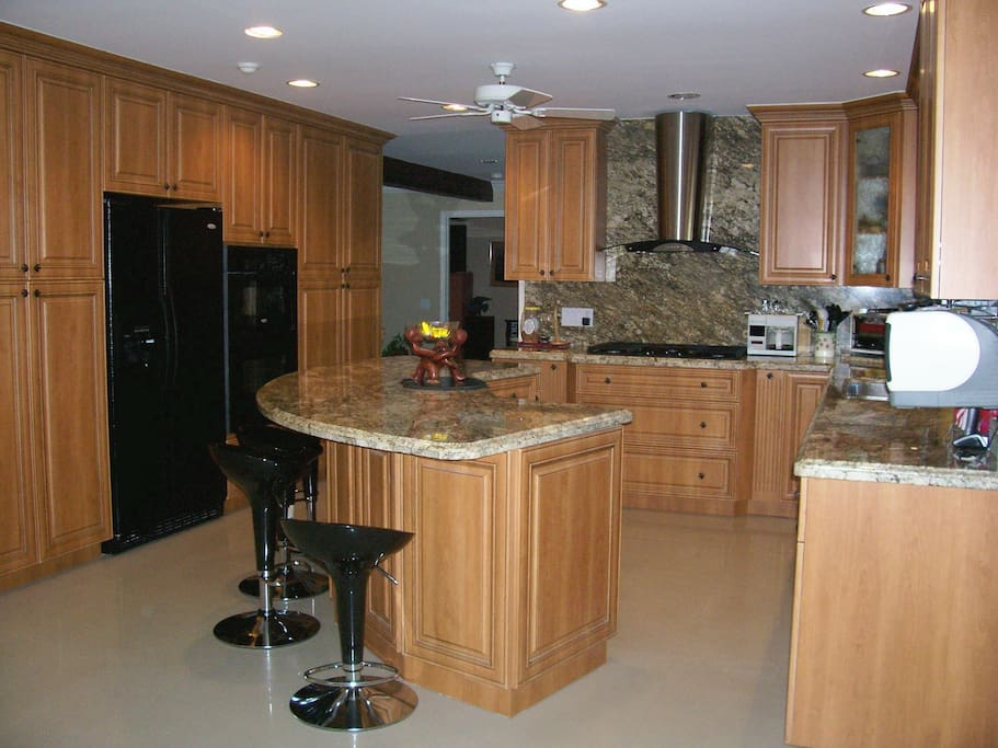 Designer Kitchen with 2 refrigerators and a pass thru window from kitchen to patio
